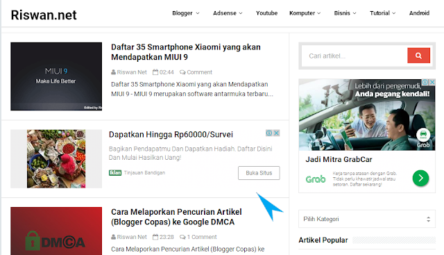 Iklan Adsense In-Feed di Blog