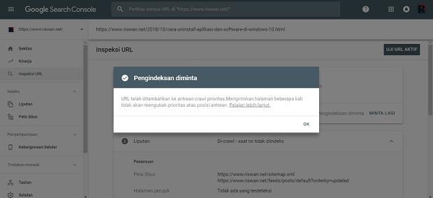 Submit URL di Google Webmaster Yang Baru
