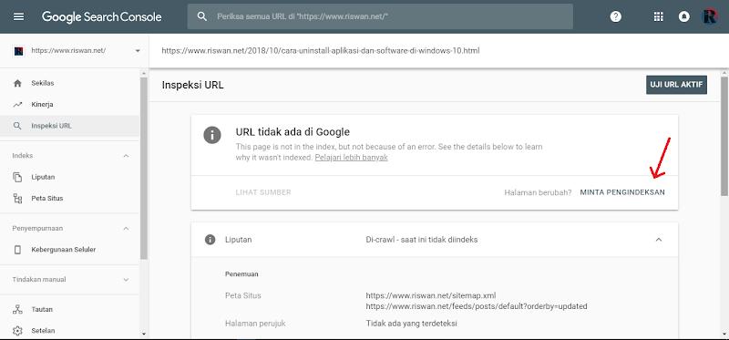 Keempat, Cara Submit URL di Google Webmaster Yang Baru