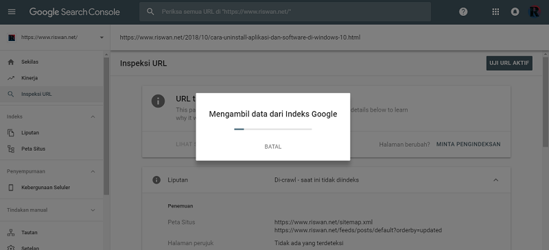 Ketiga, Cara Submit URL di Google Serach Console
