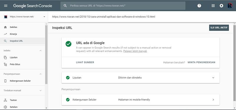 Submit URL di Google Serach Console