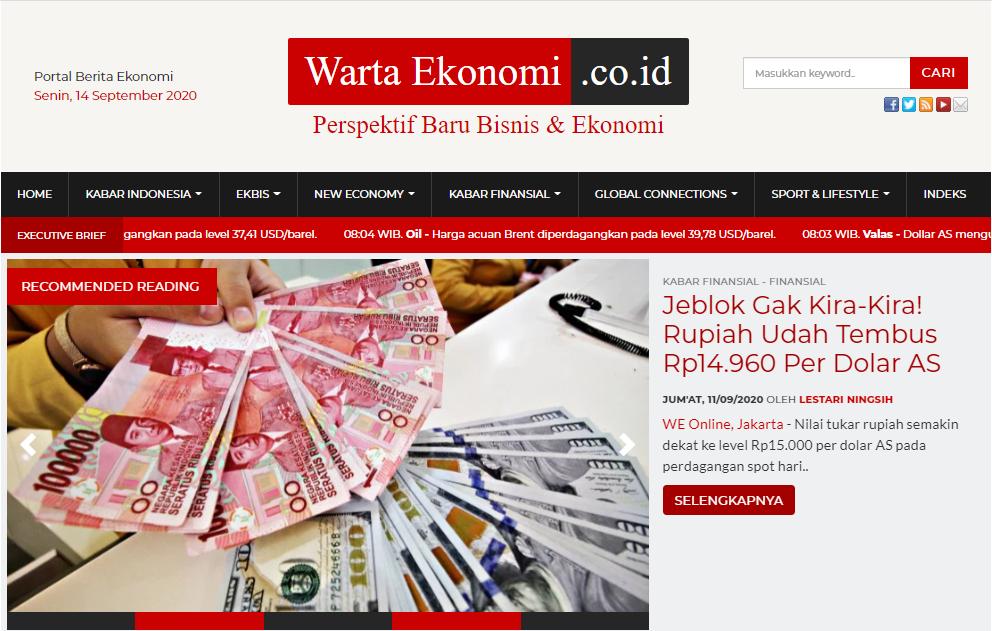 Tangkapan Layar Situs Warta Ekonomi